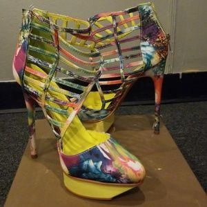 Multi Colored Platform Heels
